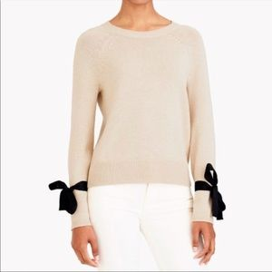 JCrew Bow Sleeves Crew Neck Sweater